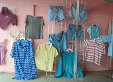 The second hand clothes from canada are displayed in a peso shop