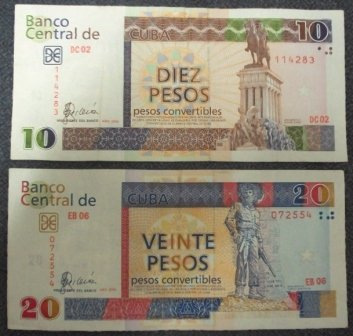 10 and 20 cuban bills cucs