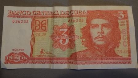 cuban 3 peso note